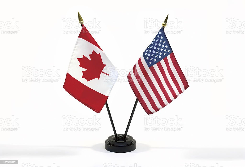 Canada and USA flags isolated royalty-free stock photo