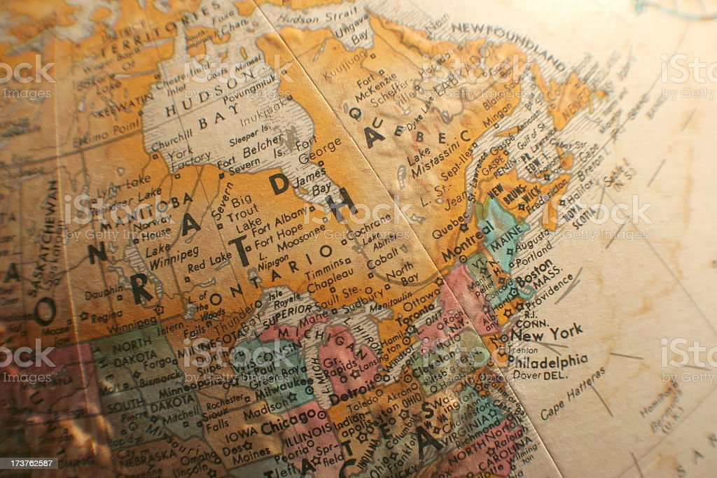 Canada and USA northeast map royalty-free stock photo