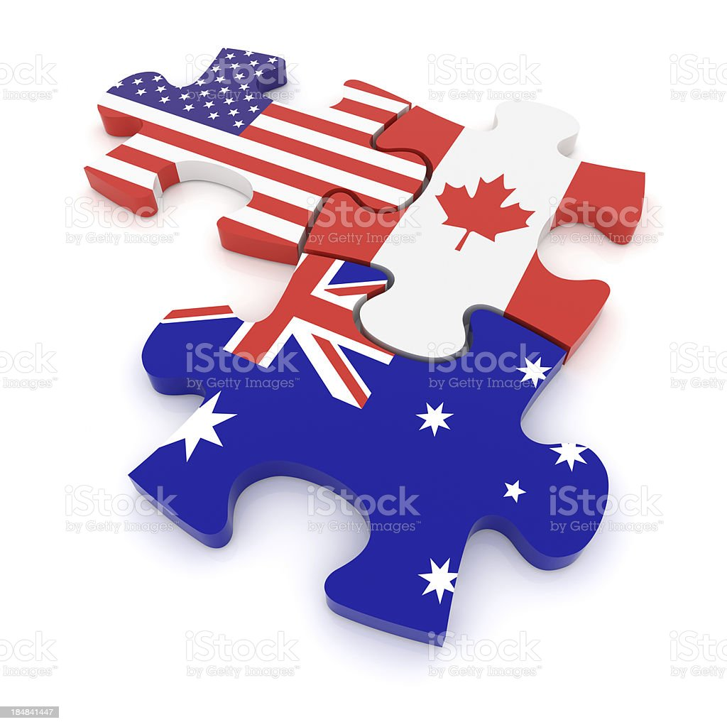 USA Canada Australia Puzzle Concept royalty-free stock photo