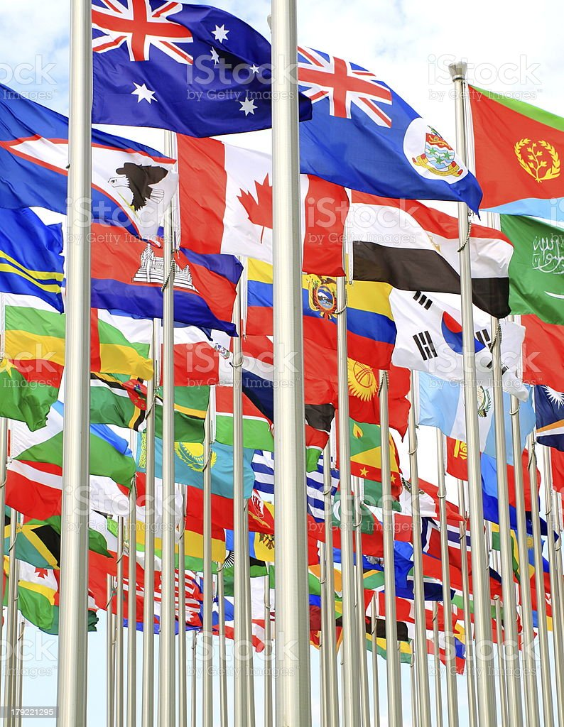 Canada Brazil Argentina and world flags stock photo