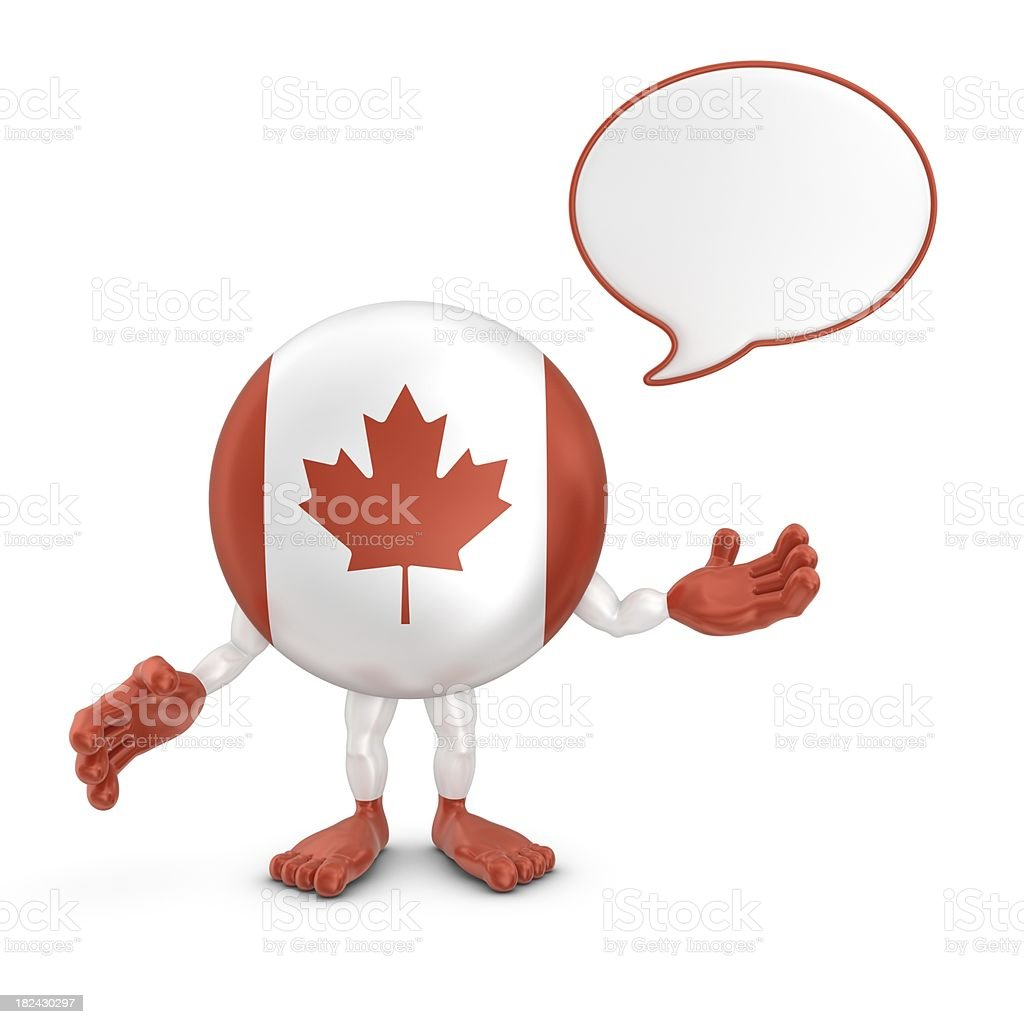 canada character with speech bubble stock photo