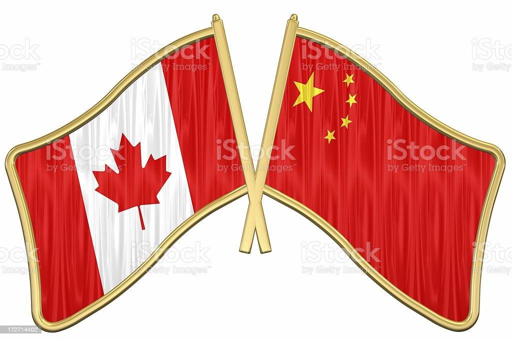 Canada China Friendship Flag Pin stock photo