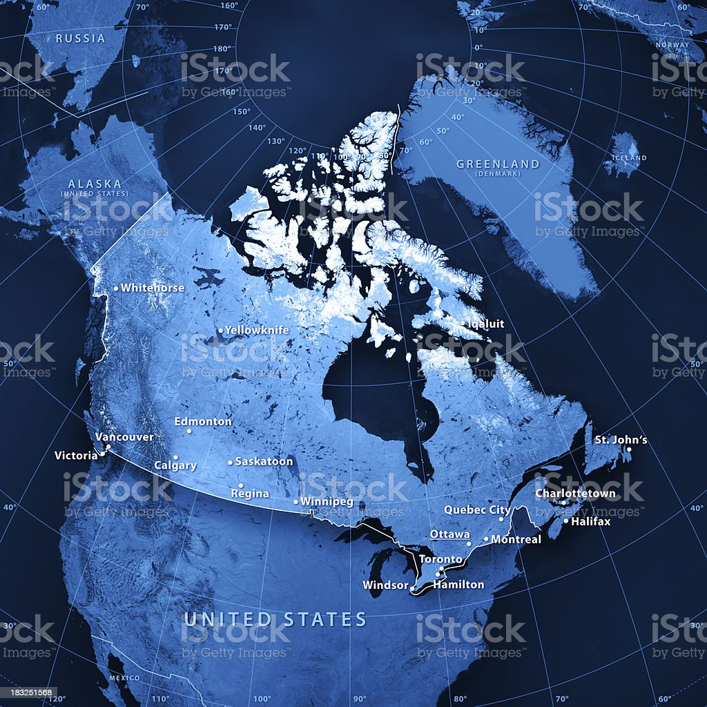 Canada Cities Topographic Map stock photo