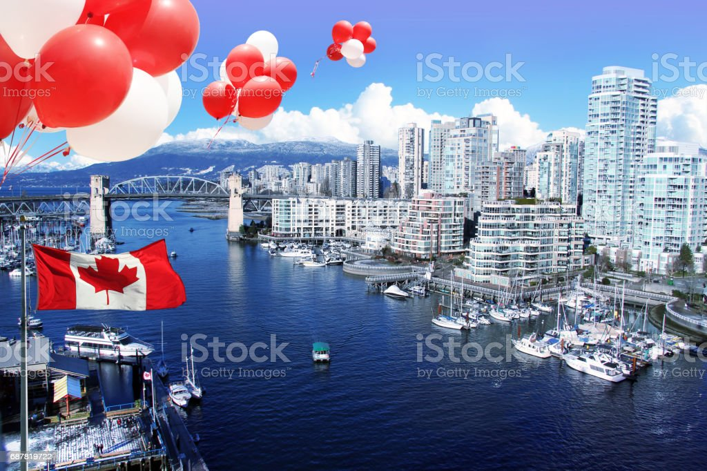 Canada day Balloons and flag. stock photo