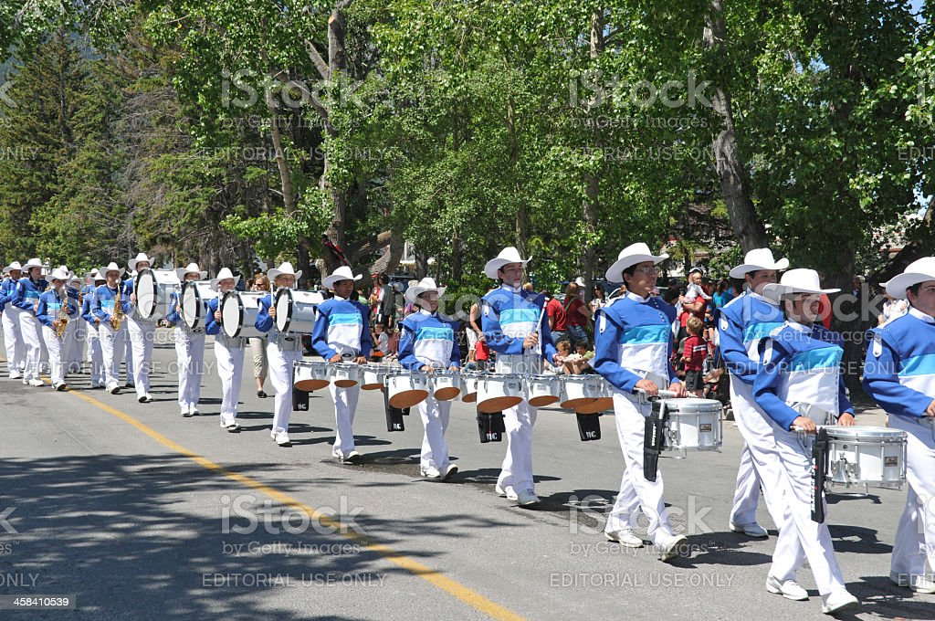 Canada Day celebration with brass band parade , Canmore,Alberta,Canada royalty-free stock photo