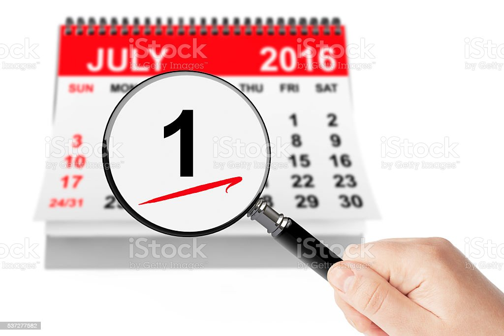 Canada Day Concept. 1 July 2016 calendar with magnifier stock photo