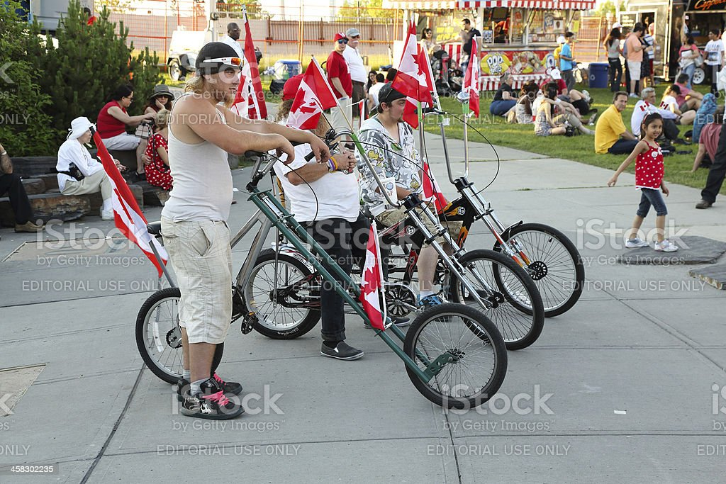 Canada Day Cyclists royalty-free stock photo