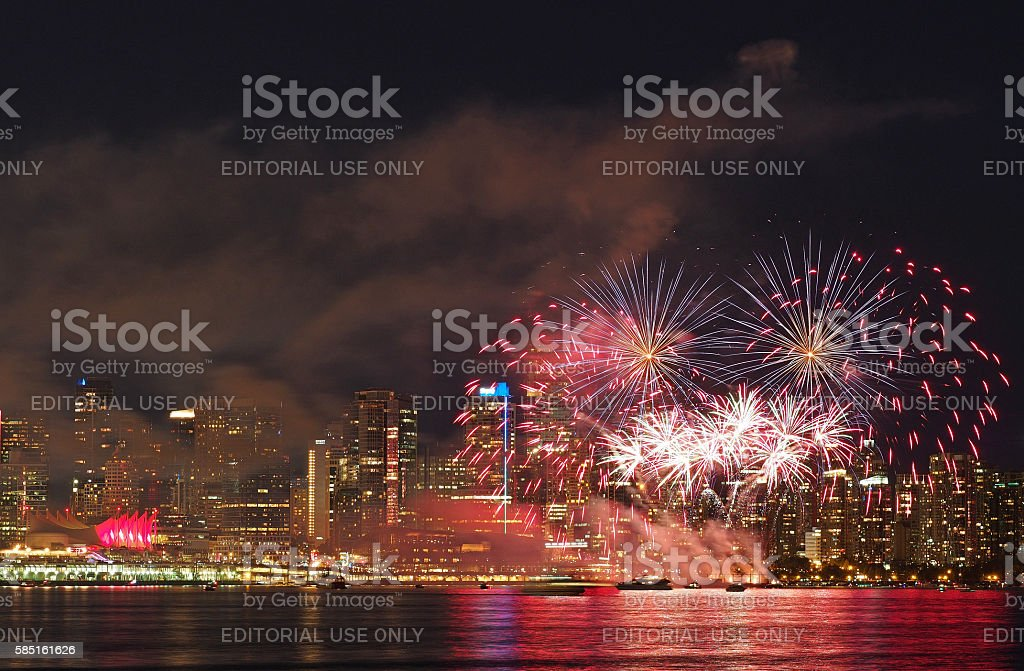 Canada Day Fireworks in Vancouver, British Columbia stock photo