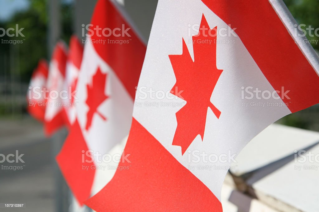 Canada day flags stock photo