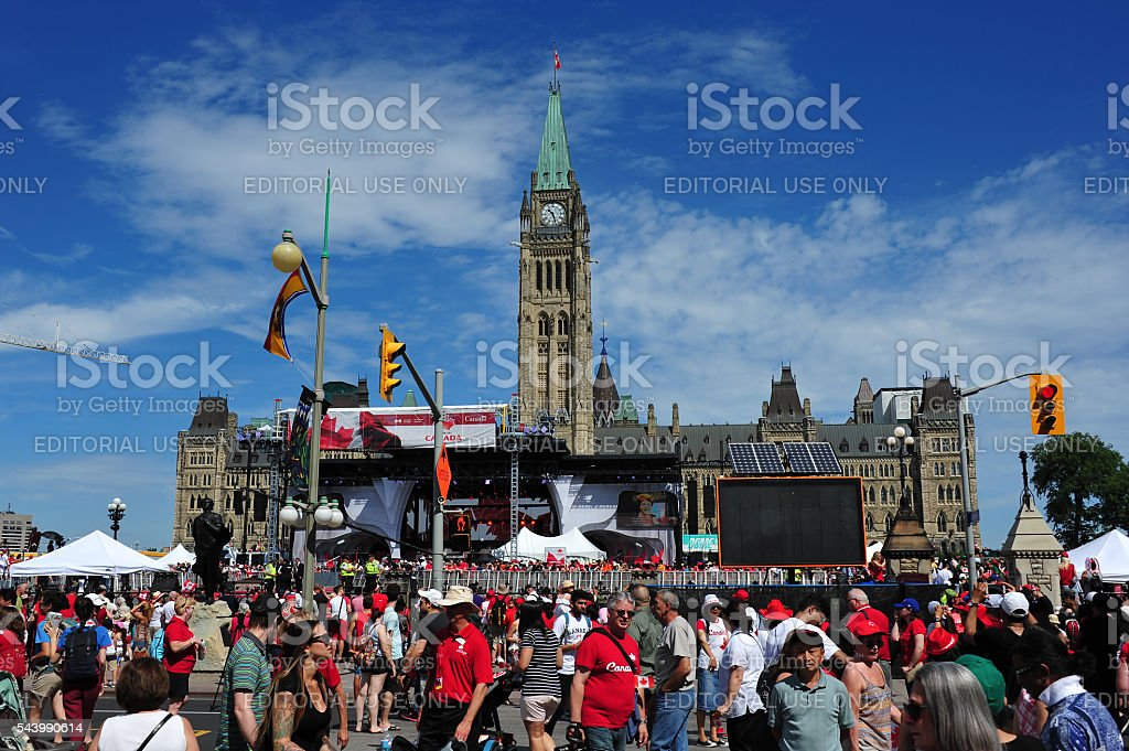 Canada Day on Parliament Hill stock photo