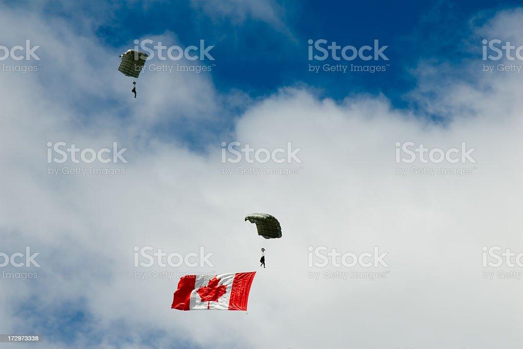Canada day parachute jump stock photo