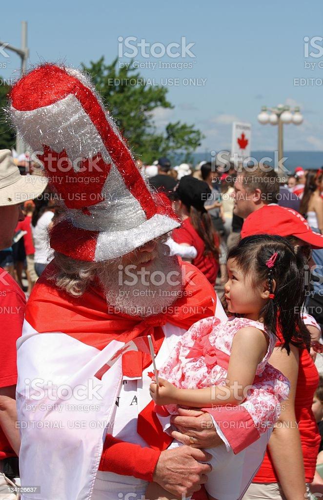 Canada Day Santa with Child stock photo