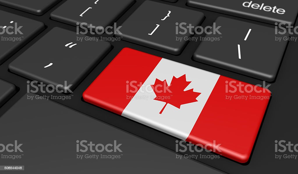 Canada Flag Computer Button Key stock photo