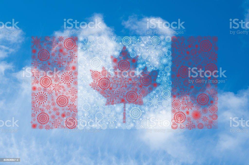 canada flag fireworks on blue sky background stock photo
