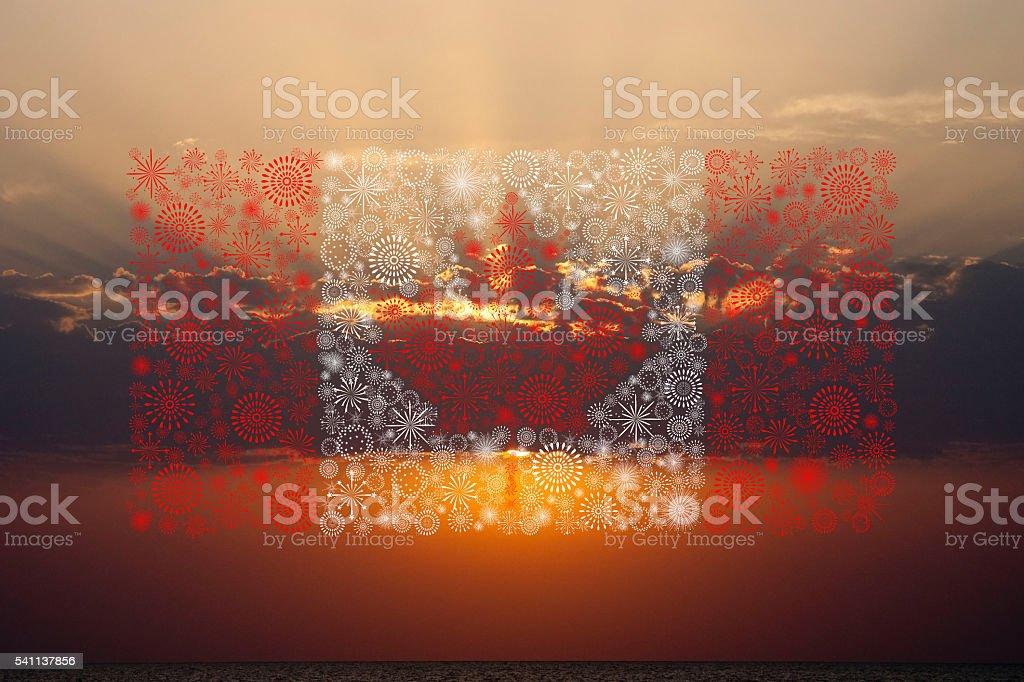 canada flag fireworks on sunset background stock photo