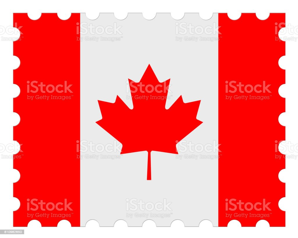Canada Flag Postage Stamp, 3d illustration on white background stock photo