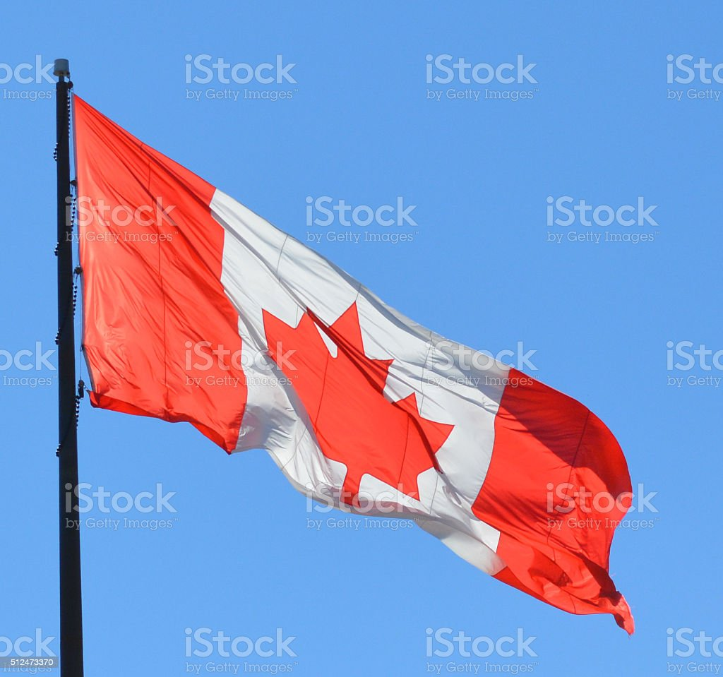 Canada Flag rippled in the wind on a summer day stock photo