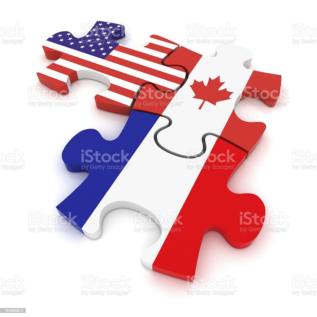 USA Canada France Puzzle Concept stock photo