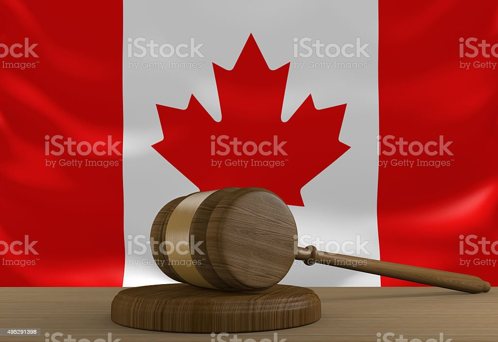 Canada law and justice system with national flag stock photo