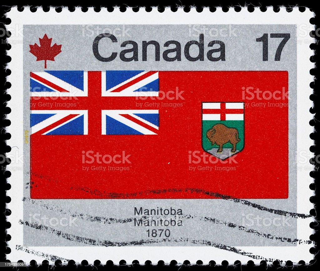 Canada Manitoba provincial flag postage stamp stock photo
