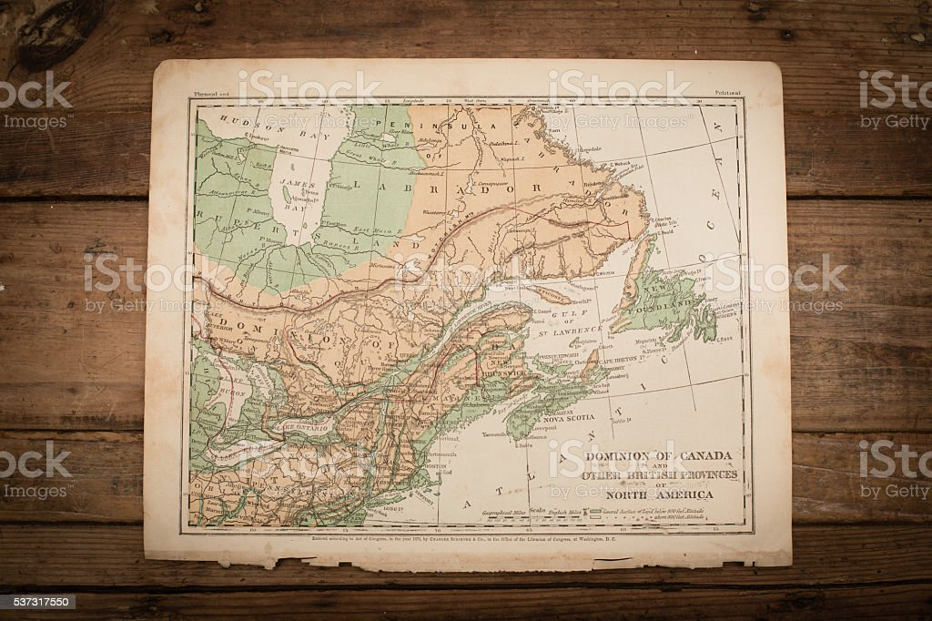 Canada Map Illustration, Travel, Antique 1871 Book Page stock photo