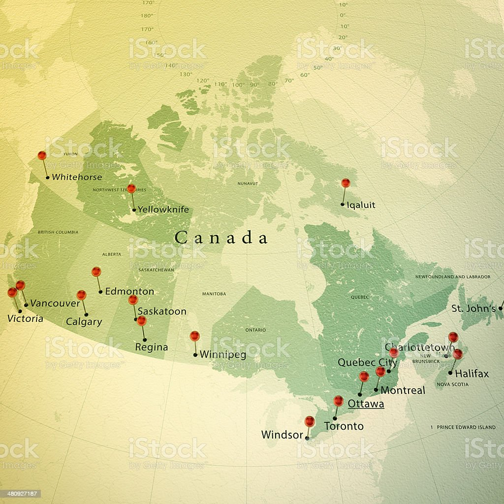 Canada Map Square Cities Straight Pin Vintage stock photo