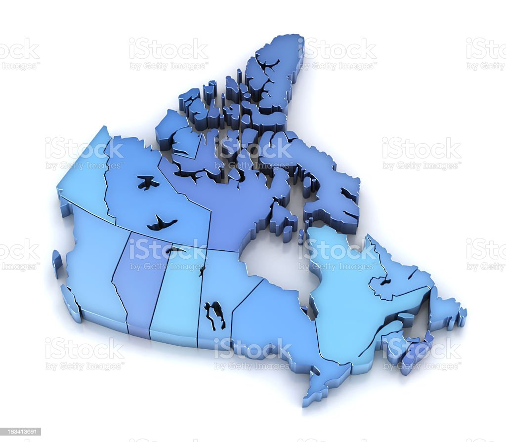 Canada map with provinces and territories royalty-free stock photo