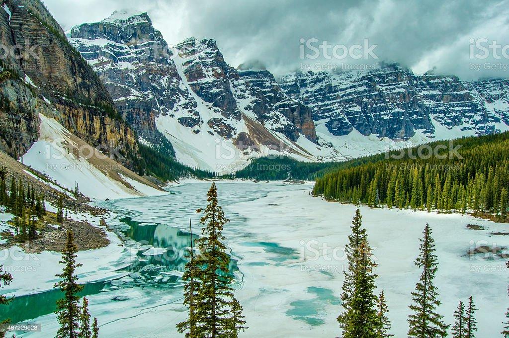 Canada Moraine Lake Winter Frozen stock photo