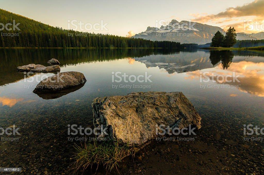 Canada Mountain Lake Sunset stock photo
