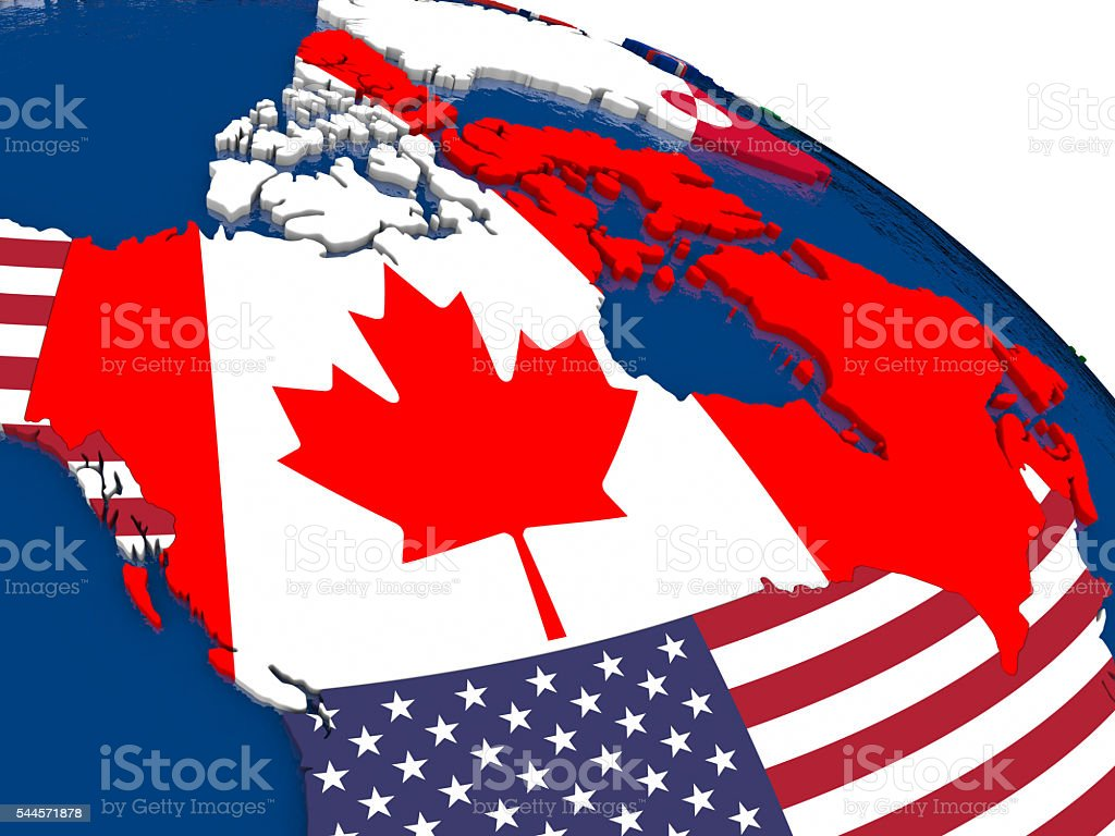 Canada on 3D map with flags stock photo