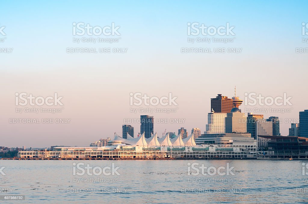 Canada Place across the harbour at dusk stock photo