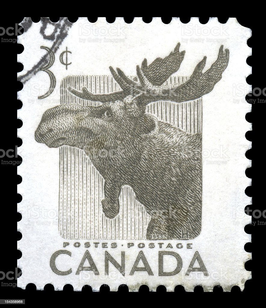 Canada Postage Stamp Elk royalty-free stock photo