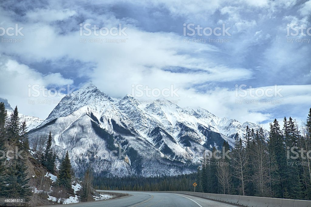 Canada Rocky Mountains in winter stock photo