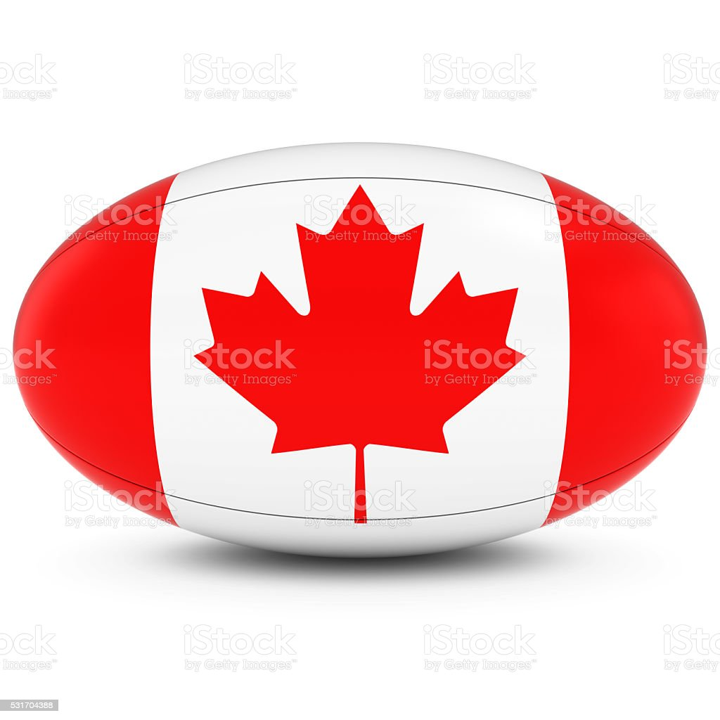 canada rugby canadian flag on rugby ball on white stock photo