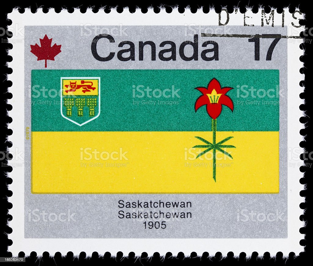 Canada Saskatchewan provincial flag postage stamp stock photo