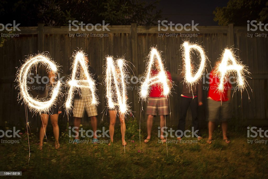 Canada sparklers in time lapse photography stock photo