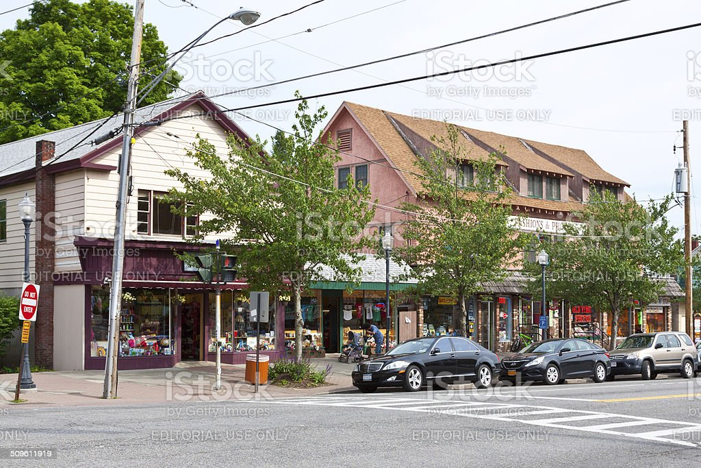 Canada Street, Lake George Village, NY. stock photo