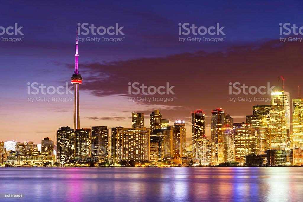 Canada Toronto Skyline at Night royalty-free stock photo