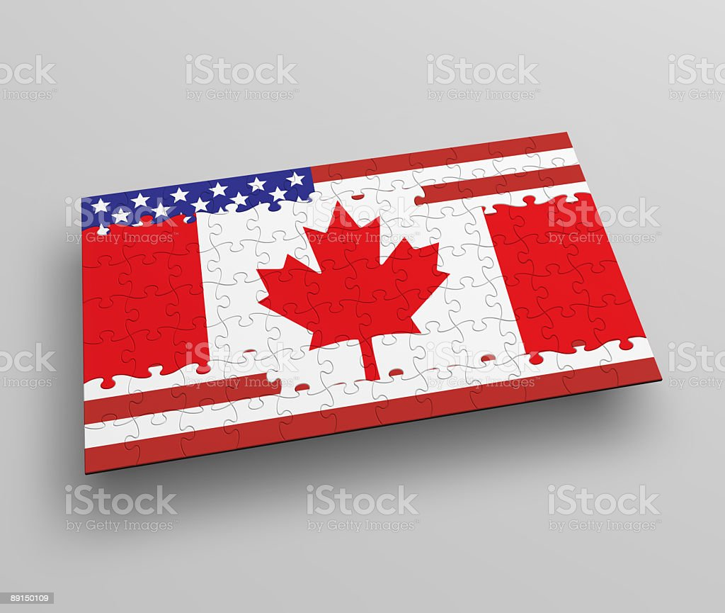 Canada USA Flag, Puzzle royalty-free stock photo