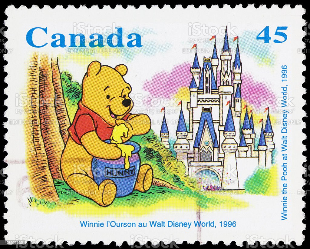 Canada Winnie the Pooh (1996) postage stamp stock photo