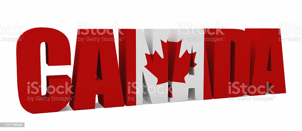 3D Canada with Flag royalty-free stock photo