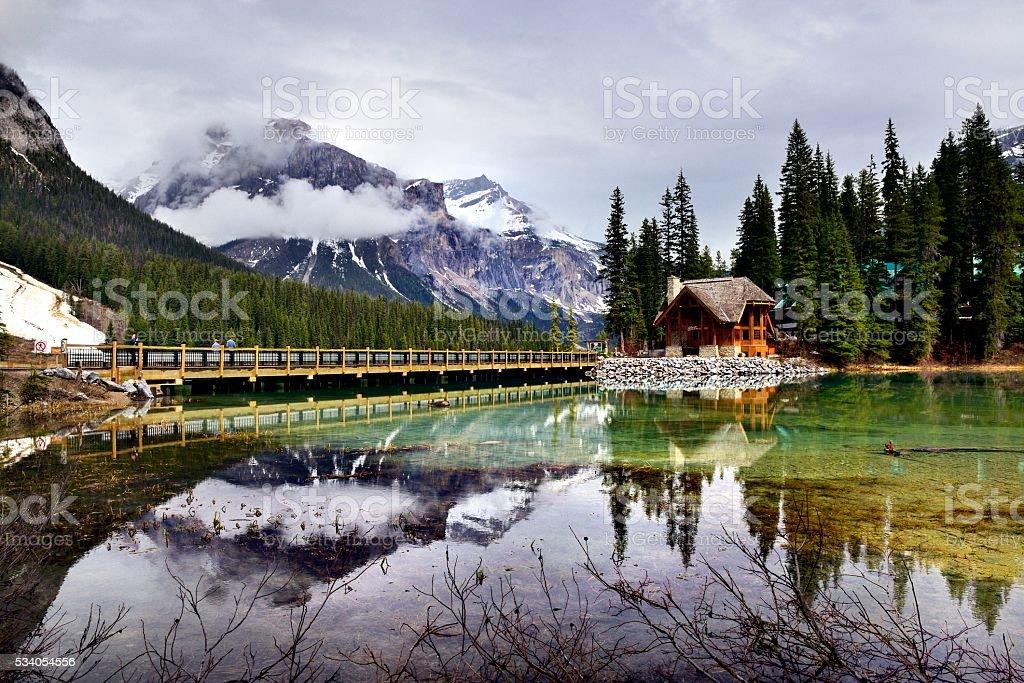 Canada Yoho National Park Emerald Lake with lodge stock photo