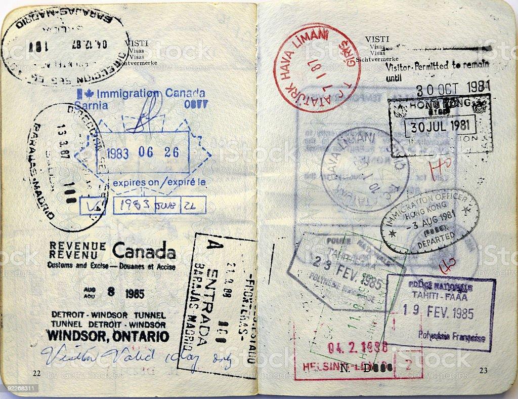 Canada,Hong Kong,Tahiti,Turkey,Spain,Finland border stamps royalty-free stock photo