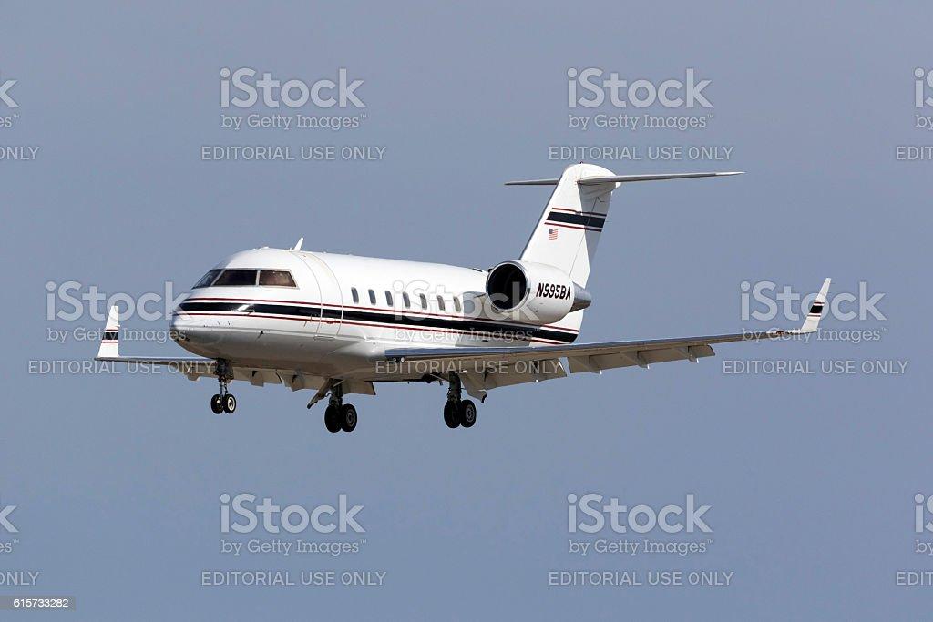 Canadair Business Jet landing stock photo