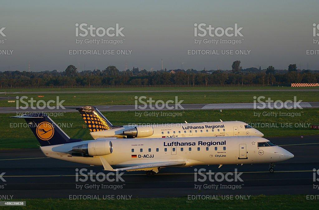 Canadair Jet 200 and Bombardier CRJ200 of Lufthansa Regional stock photo