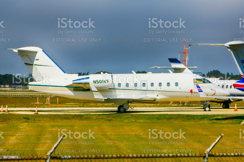 Canadair LTD CL-600-2B16 executive jet at Sarasota SRQ airport in Florida stock photo