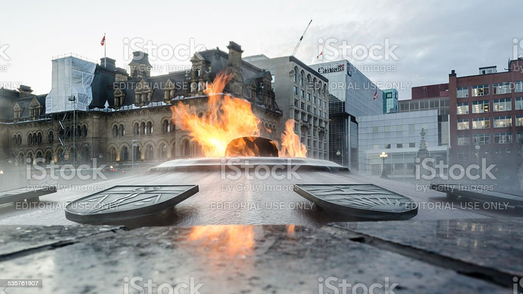 Canada's Eternal Flame in Winter stock photo
