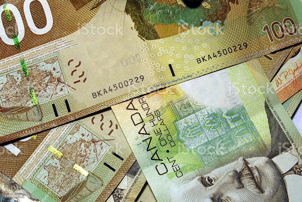 Canadian $100 bills royalty-free stock photo