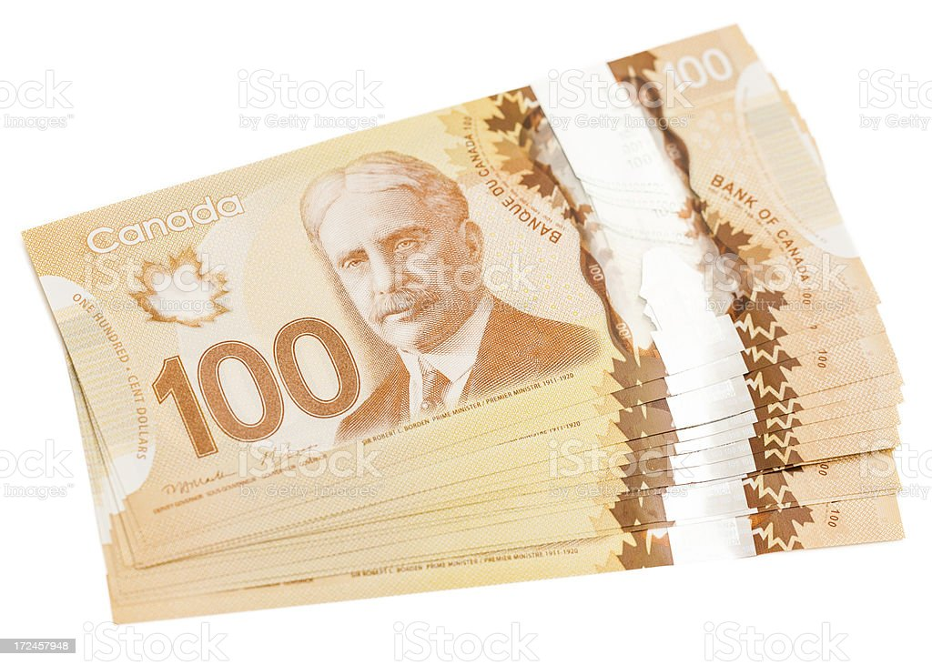 Canadian 100 Dollar Bills Isolated royalty-free stock photo