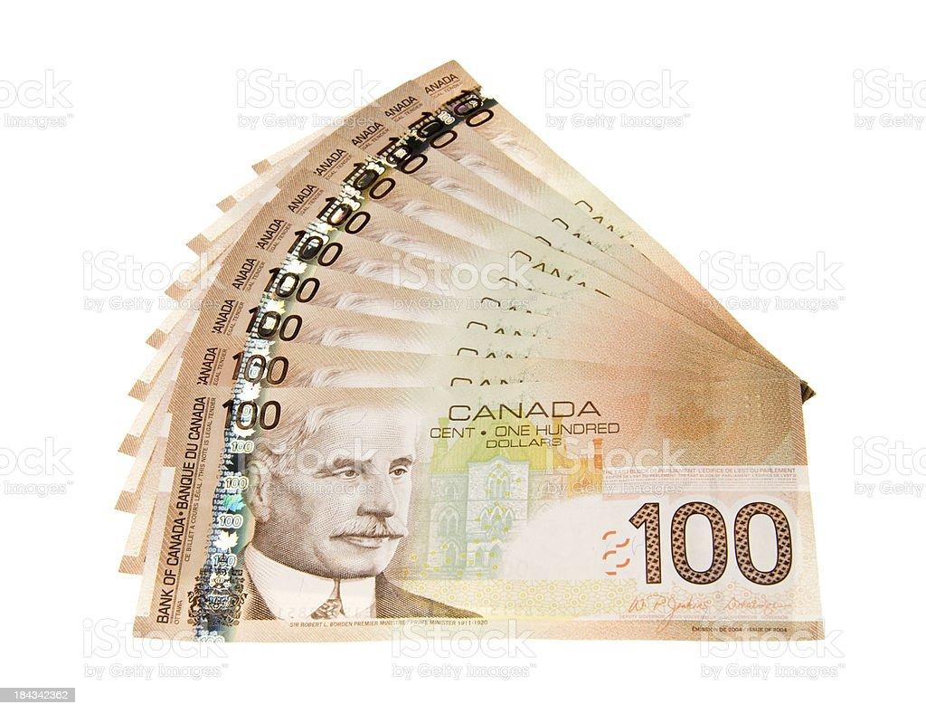 Canadian 100 dollar bills royalty-free stock photo